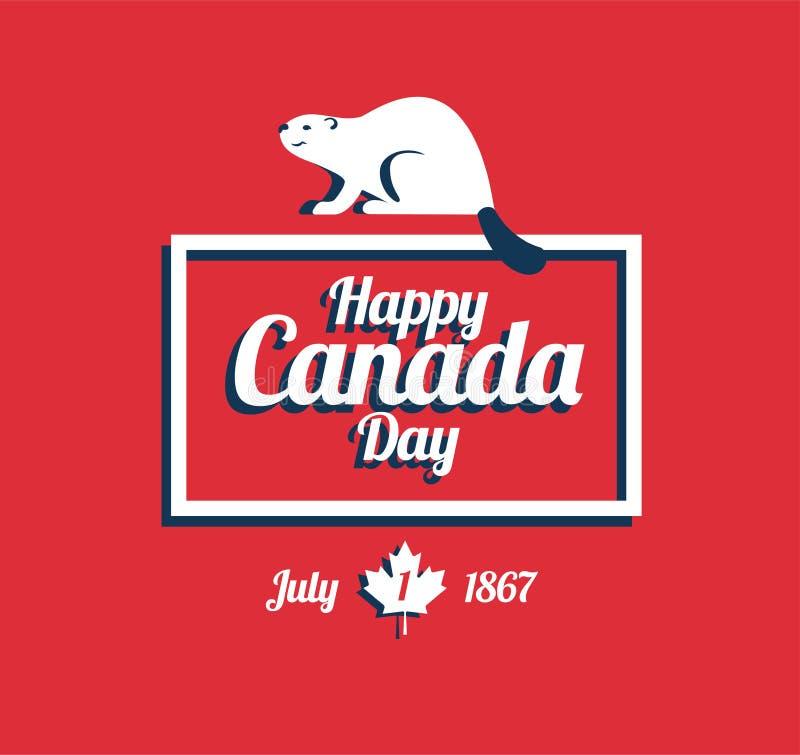 Cartão feliz do dia de Canadá - beaver, animal nacional de Cana ilustração royalty free