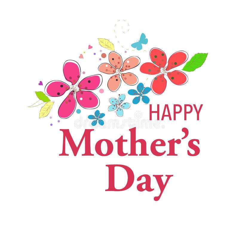 Cartão feliz do dia de mãe com coração e eu te amo fundo de suspensão do vetor do texto ilustração do vetor