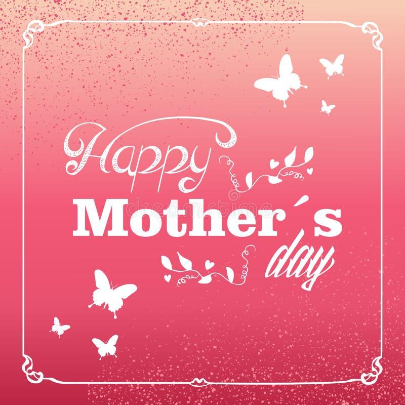 Cartão feliz do dia de mães do vintage ilustração do vetor