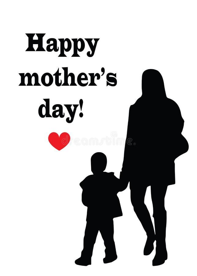 Cartão feliz do dia de mães - mãe e criança pretas da silhueta ilustração do vetor