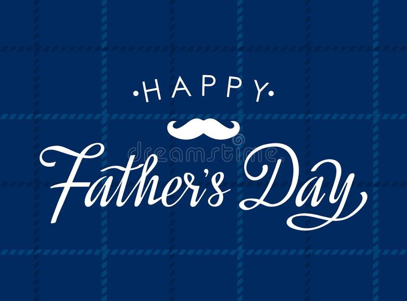 Cartão feliz do dia de pai com rotulação da mão em um fundo quadriculado do tecido Vetor liso ilustração royalty free