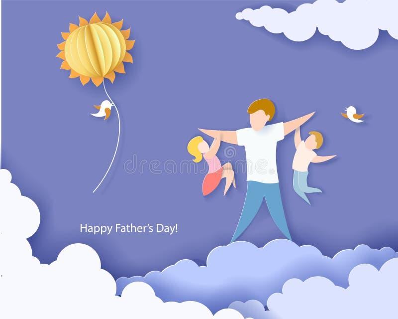 Cartão feliz do dia de pai estilo do corte do papel ilustração do vetor