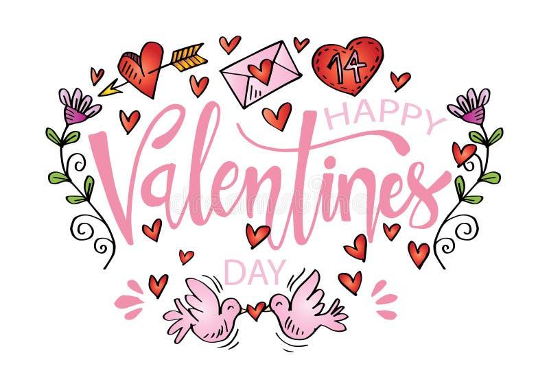 Cartão feliz do dia de Valentim ilustração do vetor