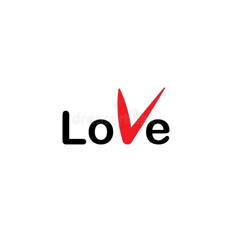 Cartão feliz do dia de Valentim do AMOR, tipo da fonte com coração ilustração do vetor
