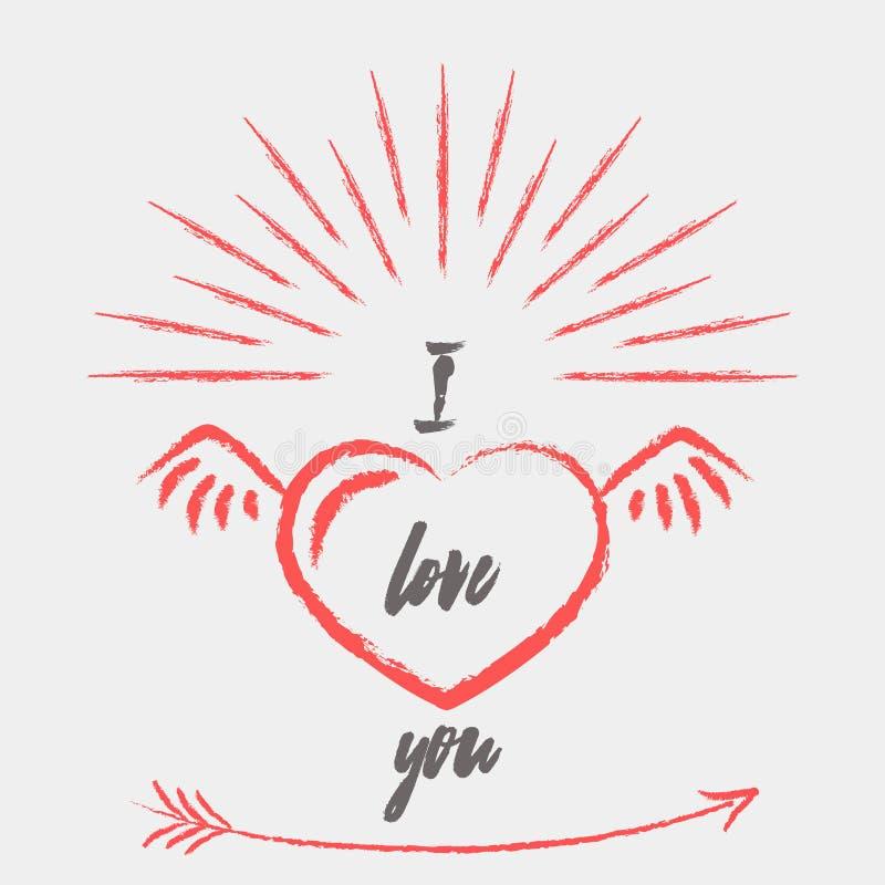 Cartão feliz do dia de Valentim com coração e asas Vetor de Valentine Love ilustração do vetor