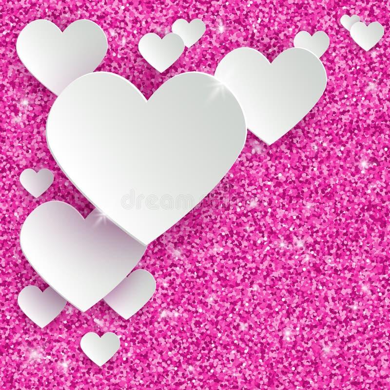 Cartão feliz do dia de Valentim com corações do Livro 3d Branco ilustração stock