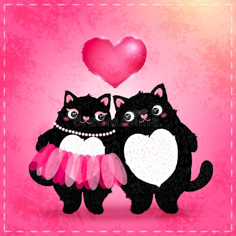 Cartão feliz do dia de Valentim com gato ilustração do vetor