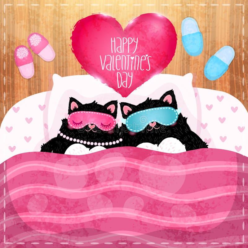 Cartão feliz do dia de Valentim com gato ilustração stock