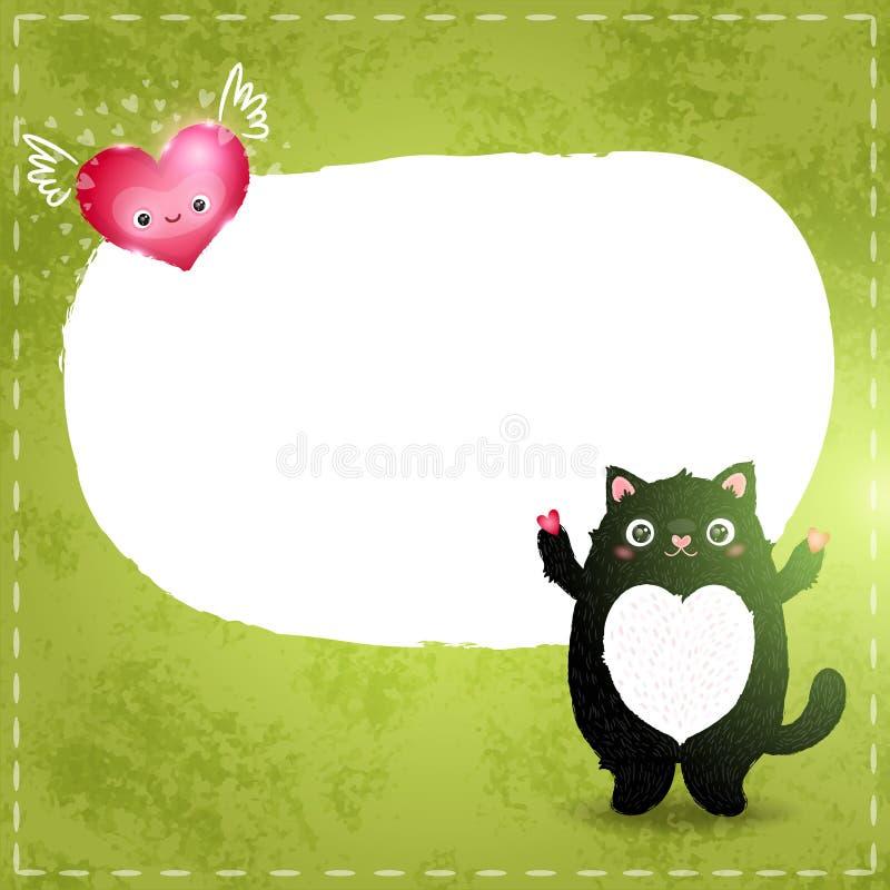 Cartão feliz do dia de Valentim com gato e coração ilustração royalty free