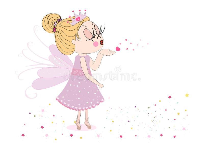 Cartão feliz do dia de Valentim com o conto de fadas bonito que envia o fundo do vetor do beijo ilustração royalty free