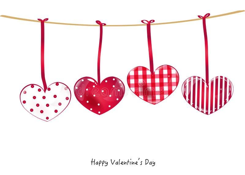 Cartão feliz do dia de Valentim com o pássaro que guarda um cartão do vetor da fita do coração ilustração do vetor