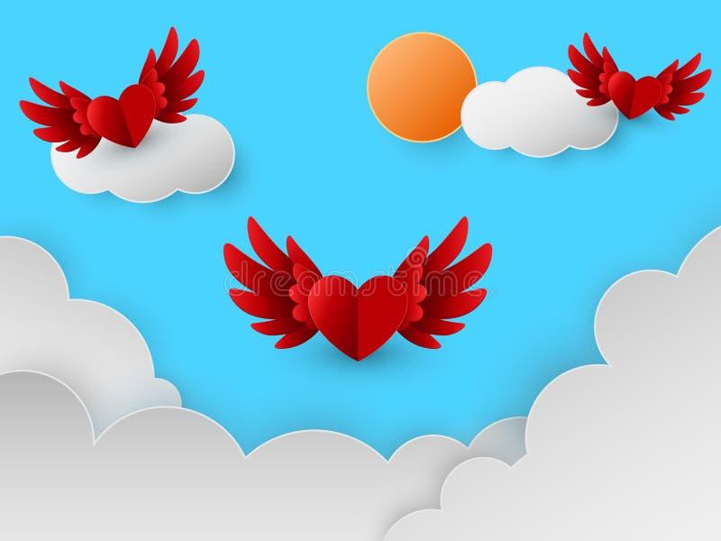 Cartão feliz do dia de Valentim com os corações vermelhos que voam no céu sobre nuvens, estilo do corte do papel, ilustração do v ilustração royalty free