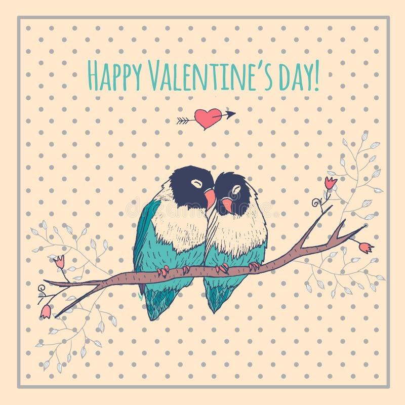 Cartão feliz do dia de Valentim com pássaros do amor e ilustração do vetor