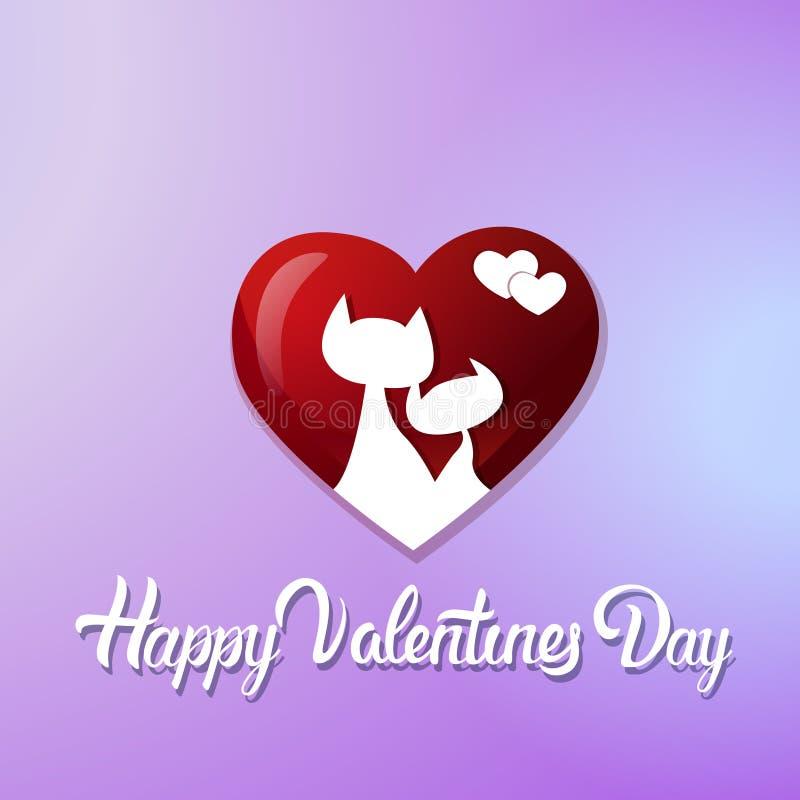 Cartão feliz do dia de Valentim com pares dos gatos na forma do coração em Violet Background ilustração stock