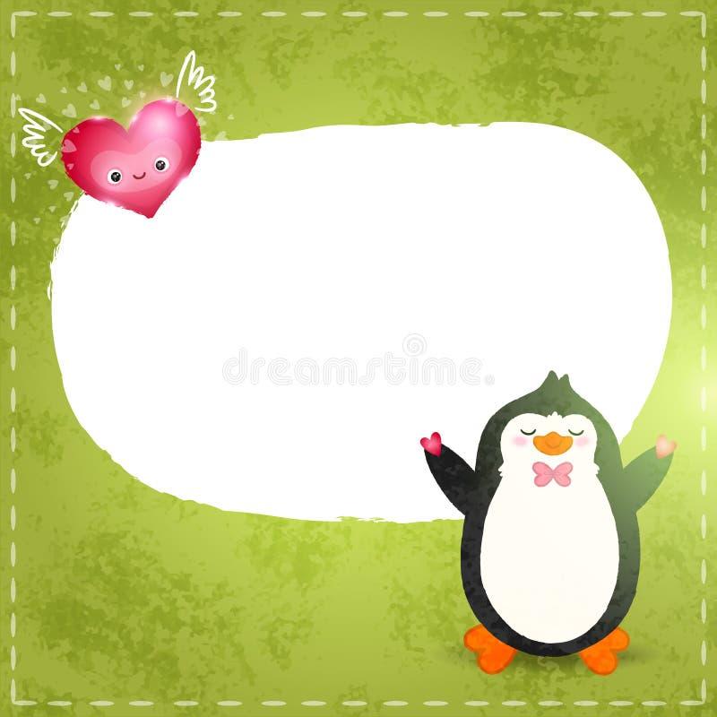 Cartão feliz do dia de Valentim com pinguim e coração ilustração royalty free