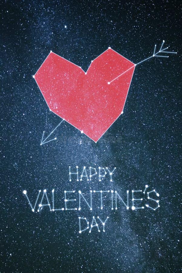 Cartão feliz do dia de Valentim com rotulação do cumprimento imagem de stock