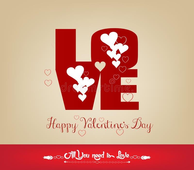 Cartão feliz do dia de Valentim do AMOR ilustração do vetor