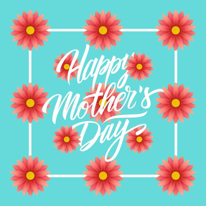 Cartão feliz do dia do ` s da mãe com projeto escrito à mão do texto da rotulação e teste padrão floral ilustração stock