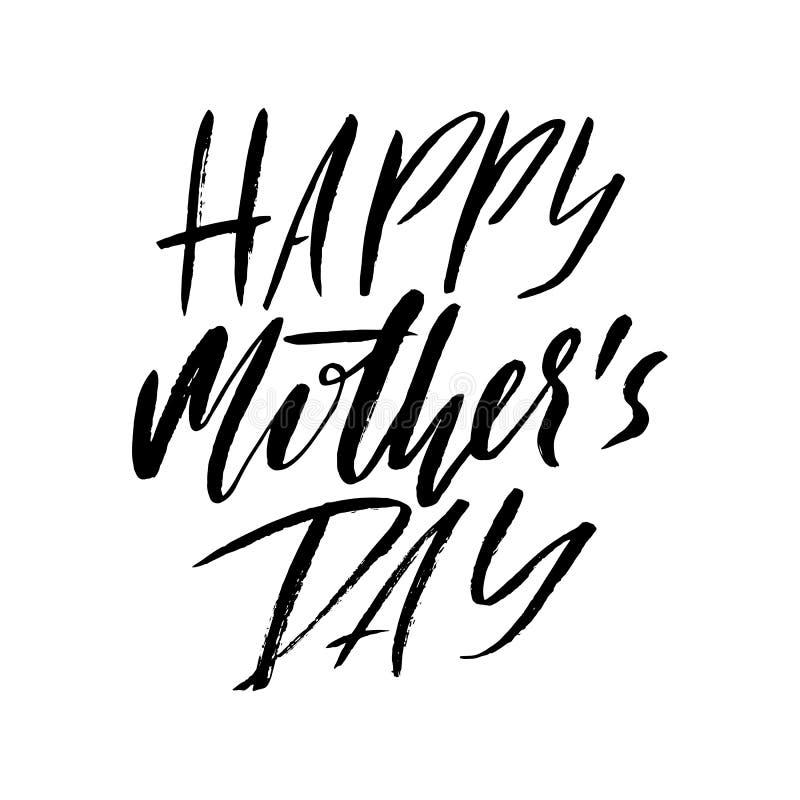 Cartão feliz do dia do ` s da mãe Inscrição preta da caligrafia ilustração do vetor