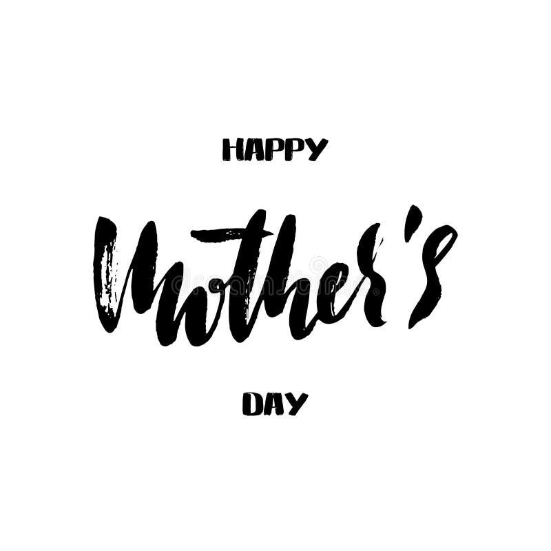 Cartão feliz do dia do ` s da mãe Rotulação escrita à mão Inscrição da caligrafia do vetor ilustração stock