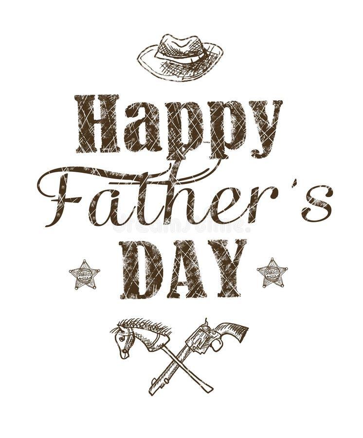 Cartão feliz do dia do ` s do pai Cartão do feriado com elementos gráficos isolados e texto no fundo branco ilustração do vetor
