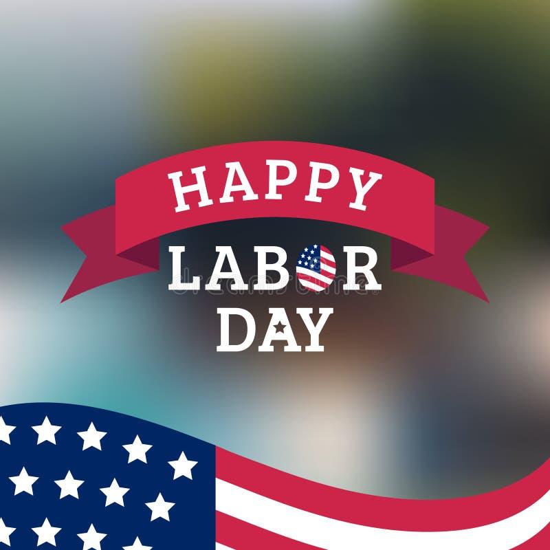 Cartão feliz do Dia do Trabalhador do vetor Ilustração americana nacional do feriado ilustração do vetor