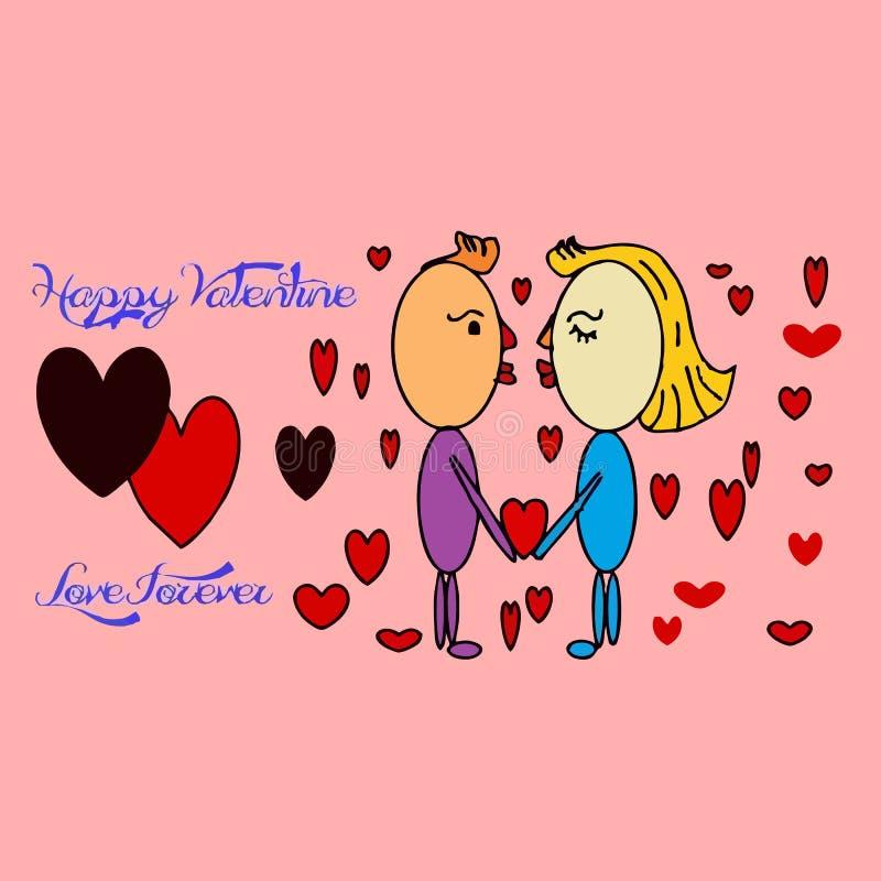 Cartão feliz do dia do Valentim s com textos foto de stock