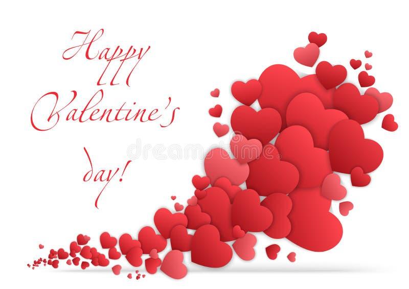 Cartão feliz do dia dos Valentim com corações Vetor de Valentine Love ilustração do vetor