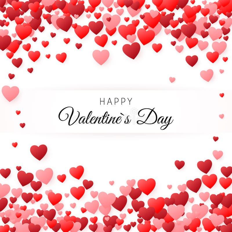 Cartão feliz do dia dos Valentim Molde de tampa do cartão O fundo encheu-se com os corações com lugar para a inscrição Vetor ilustração do vetor