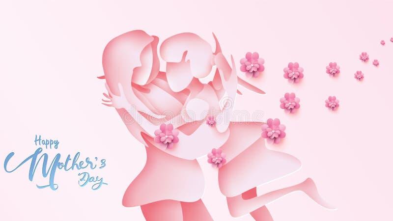 Cartão feliz do dia do ` s da mãe Filha cortada de papel da criança do estilo que corre e que abraça a seu mum para felicitar no  ilustração royalty free
