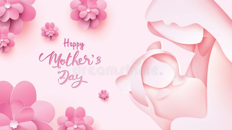 Cartão feliz do dia do ` s da mãe Mum cortado de papel do estilo que sorri e que guarda o bebê saudável com felicidade no fundo c ilustração stock