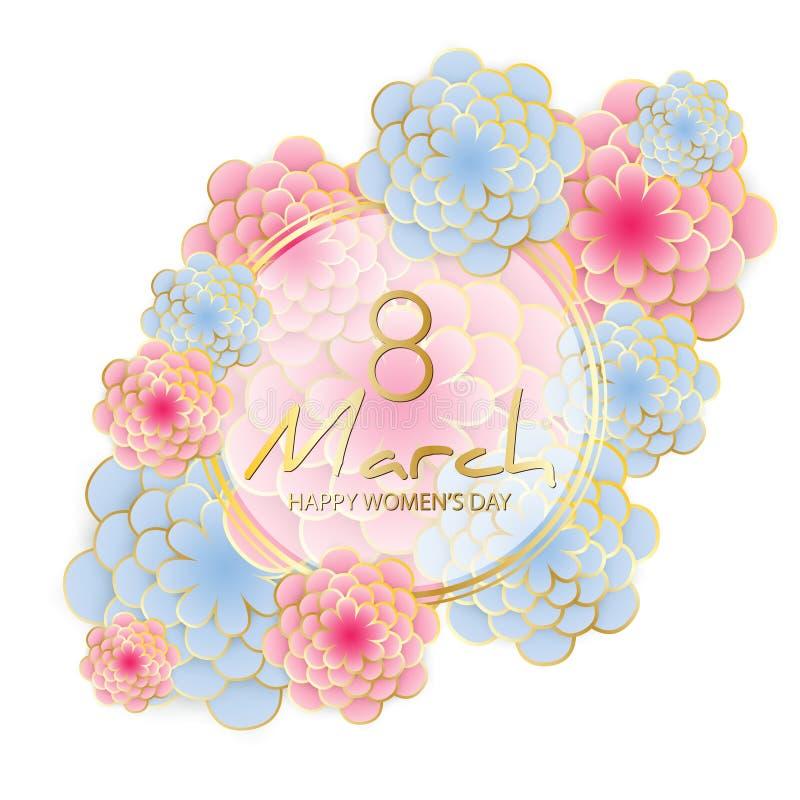 Cartão feliz do dia do ` s das mulheres ilustração stock