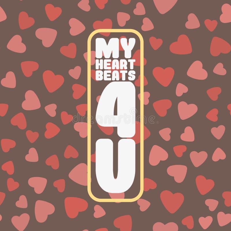 Cartão feliz do dia do ` s do Valentim com corações vermelhos Vetor ilustração do vetor