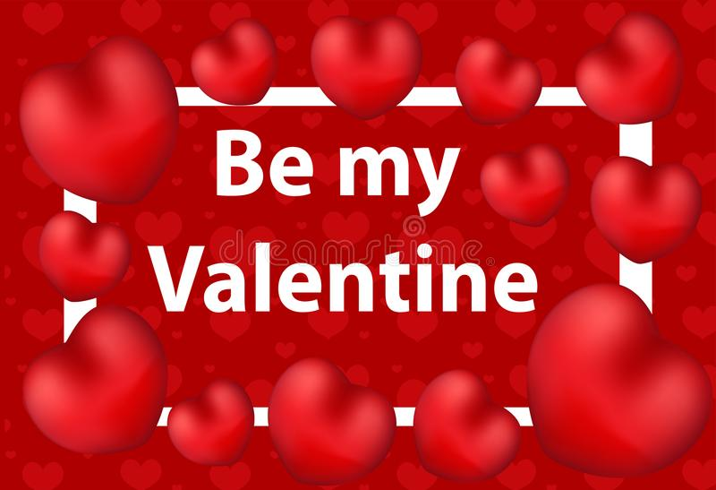 Cartão feliz do dia do `s do Valentim Seja meu teste padrão do Valentim para seu projeto Fundo do amor Ilustração do vetor ilustração do vetor