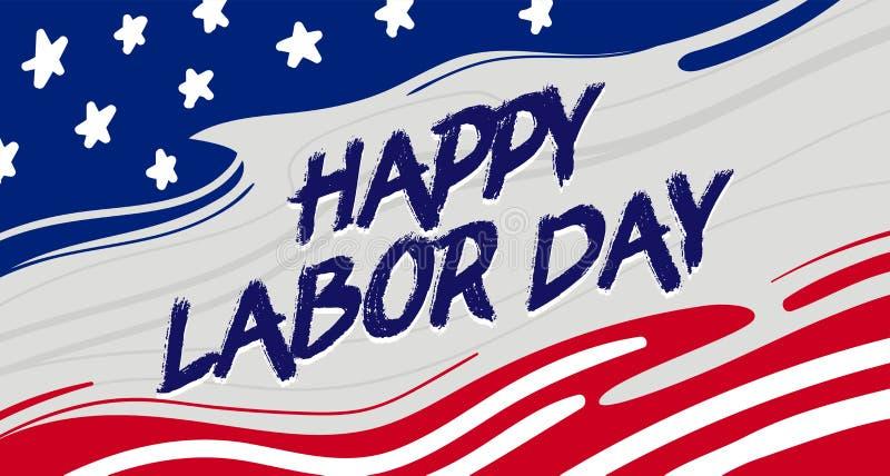 Cart?o feliz do Dia do Trabalhador com tipografia suja no fundo da bandeira nacional do Estados Unidos do curso da escova com est ilustração do vetor