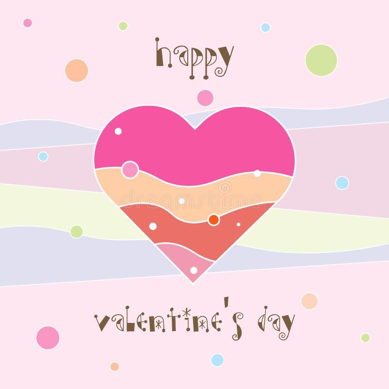 Cartão feliz do dia do Valentim s Coração dos Valentim Cartão decorativo do coração ilustração royalty free