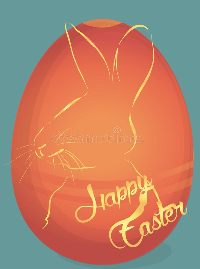 Cartão feliz do feriado da Páscoa com ovo ilustração royalty free