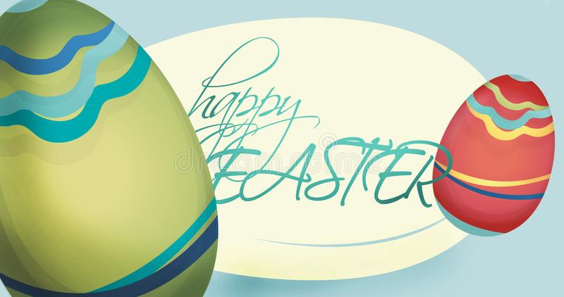 Cartão feliz do feriado da Páscoa com ovos ilustração royalty free