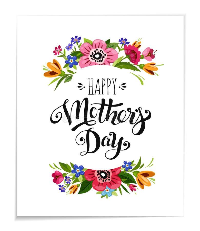 Cartão feliz do feriado do dia do ` s da mãe com flores Entregue tirado rotulando o dia feliz do ` s da mãe Vector a ilustração f ilustração stock