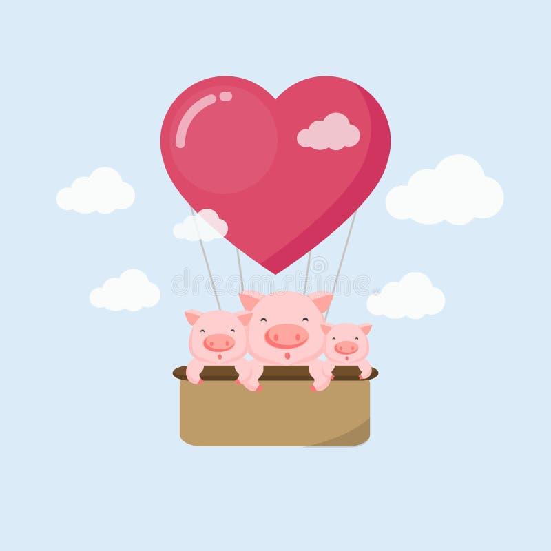 Cartão feliz do feriado Porco engraçado no balão de ar no céu ilustração do vetor