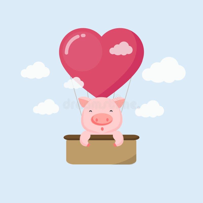 Cartão feliz do feriado Porco engraçado no balão de ar no céu ilustração royalty free