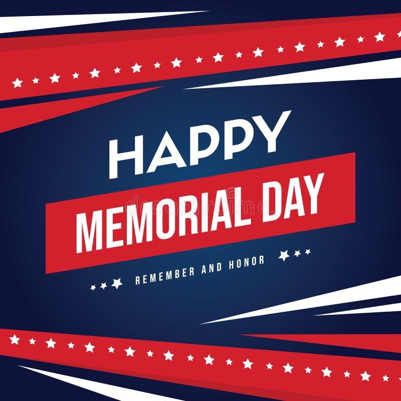 Cartão feliz do fundo do Memorial Day ilustração do vetor