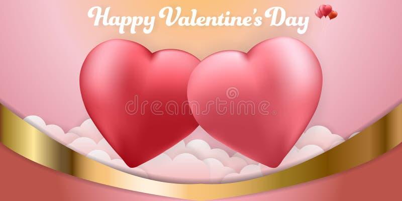 Cartão feliz do grupo da bandeira dos fundos dos balões do coração dos pares do dia de Valentim papel de parede, convite, cartaze ilustração do vetor