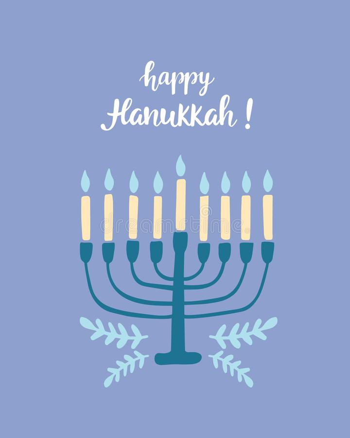 Cartão feliz do Hanukkah com rotulação e menorah modernos escritos mão da escova ilustração royalty free
