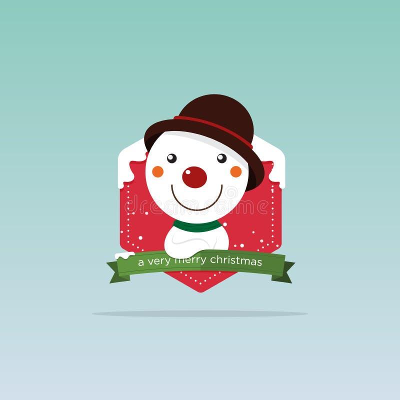 Cartão feliz do Feliz Natal Posição vermelha do nariz do boneco de neve do smiley na frente do crachá do Natal Decoração do feria ilustração do vetor