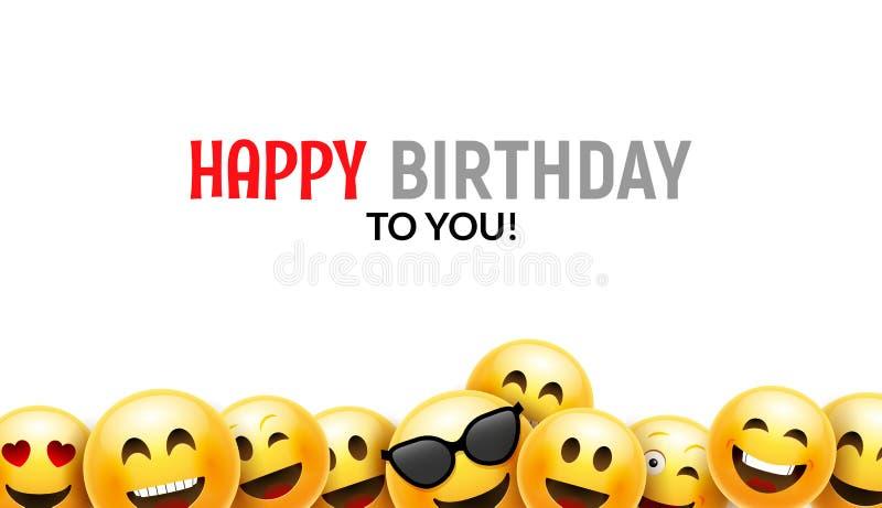 Cartão feliz do sorriso do aniversário Projeto de caráter colorido do fundo 3d do aniversário do vetor ilustração royalty free