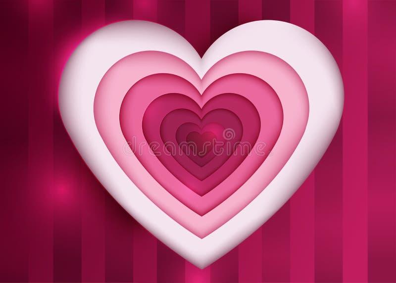 Cartão feliz do vetor do dia de Valentine's Cinzeladura de papel da arte ilustração royalty free