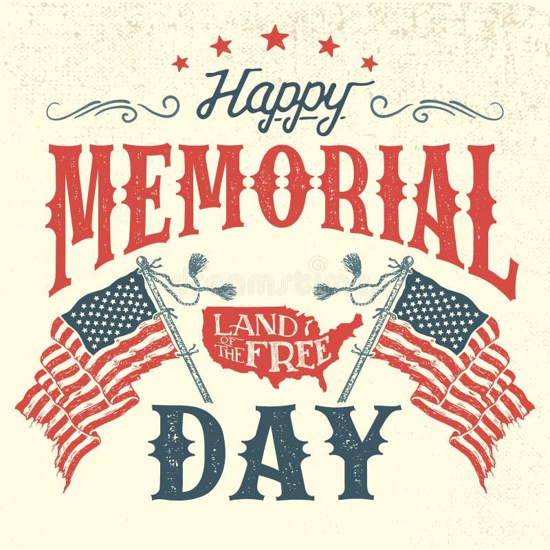 Cartão feliz do vintage de Memorial Day ilustração stock
