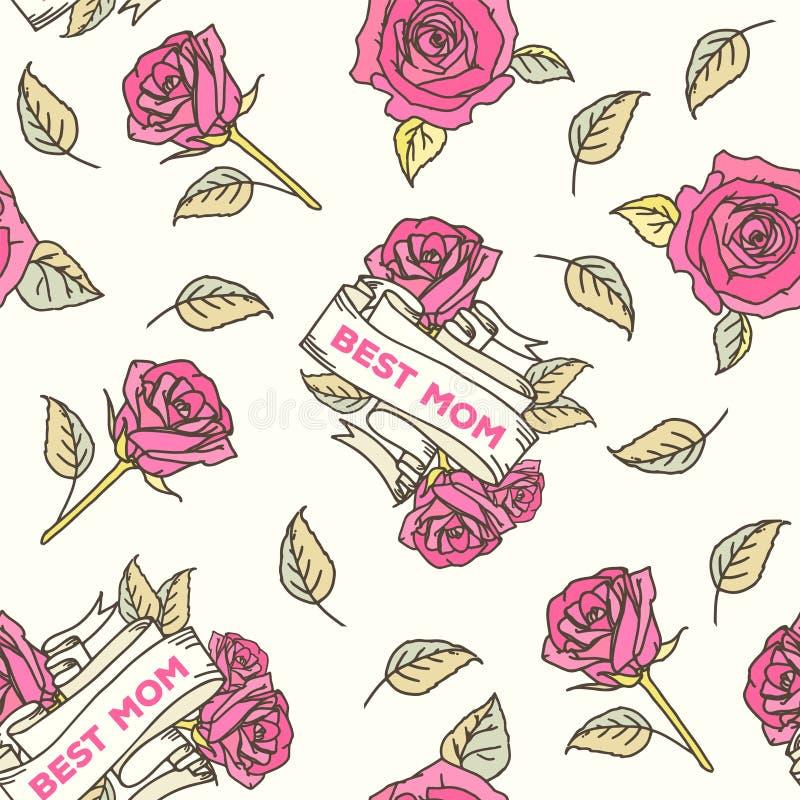 Cartão feliz do vintage do dia de mães ilustração royalty free