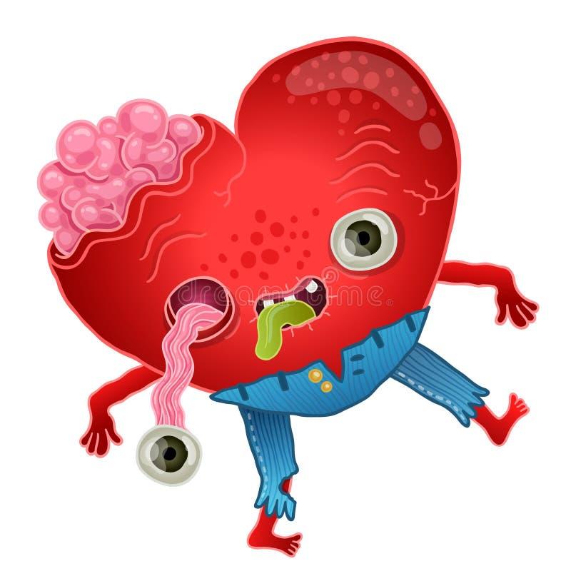 Cartão feliz dos Valentim com coração do zombi. ilustração royalty free